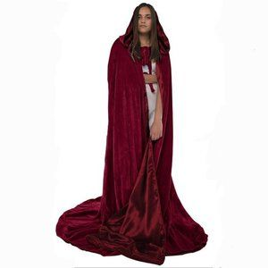 Renaissance Fair velvety hooded cloak long 63""